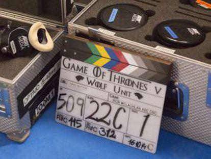 A clapperboard on set.