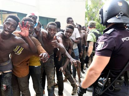 Some of the 116 migrants who managed to get over the Ceuta border fence on Wednesday.