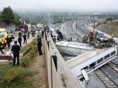 The Alvia train after derailing near Santiago de Compostela.