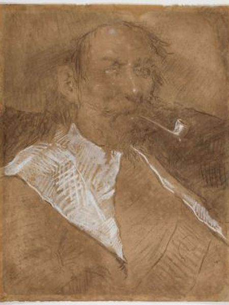Picasso's charcoal drawing of a male character smoking a pipe.