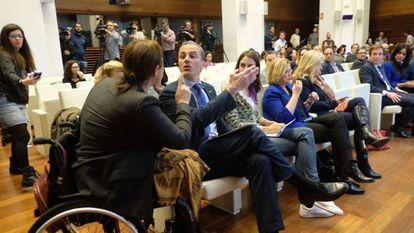 Gender violence victim Nadia Otmani confronts Vox Madrid spokesman Javier Ortega Smith.