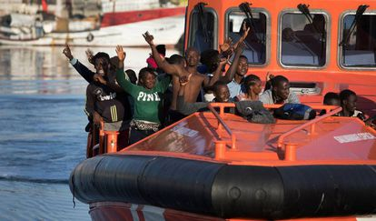 A group of rescued migrants arrives in Spain.