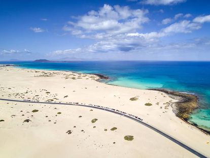 Aerial view of the road to the beaches of the Corralejo Dunes National Park.