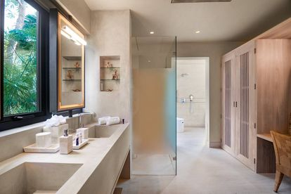 Indoor bathroom (yes, there are outdoor bathrooms as well!) at Villa Tesoro.