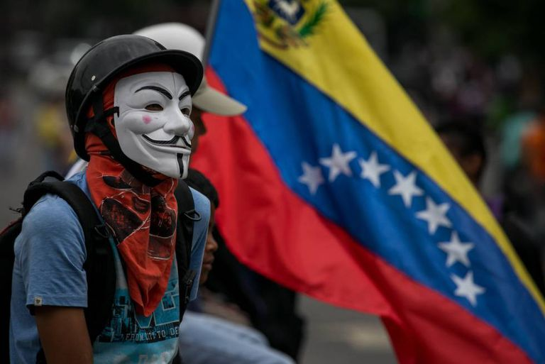 An anti-government protest in Caracas, Venezuela.