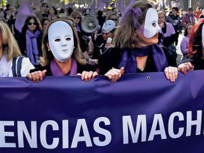 Women march against gender violence in Madrid on November 7.