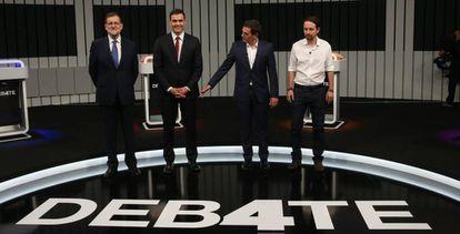 Rajoy, Sánchez, Rivera and Iglesias on Monday night.