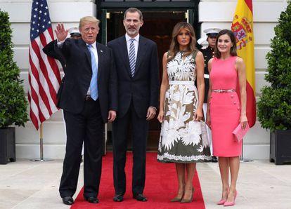 Donald Trump, Felipe VI, Melania Trump and Queen Letizia.
