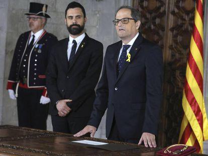 Quim Torra is sworn in as the premier of Catalonia.