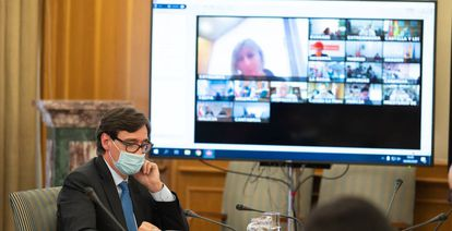 Spanish Health Minister Salvador Illa presiding over a virtual meeting of health officials on Wednesday.