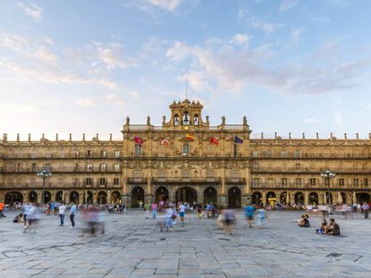 The Plaza Mayor in Salamanca, built in the mid-18th century.