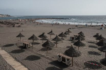Las Américas beach in Tenerife, in the Canary Islands, where many businesses are closed due to the coronavirus crisis.