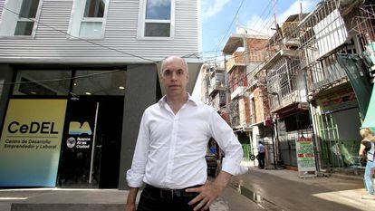 Buenos Aires Mayor Horacio Larreta outside his office in Villa 31.