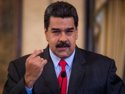 Nicolás Maduro speaks at a press conference in Caracas.