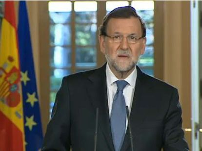Spanish Prime Minister Mariano Rajoy, during his televised address on Friday.