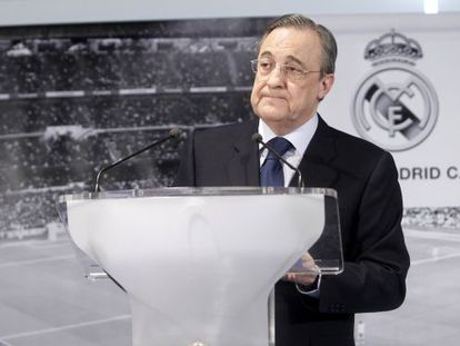 Real Madrid president Florentino Pérez at a news conference earlier this year at the Santiago Bernabéu stadium.
