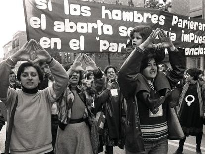 A protest calling for the legalization of abortion in 1978 in Madrid.