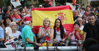 Protesters at the demonstration in Barcelona.