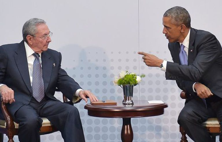 Castro and Obama during their meeting at the summit in Panama.