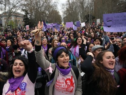 A march in Madrid on International Women's Day in 2020.