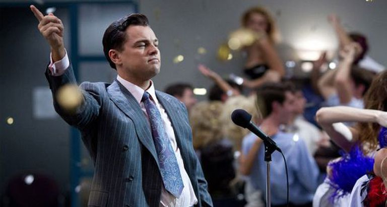 Oscar nominee Leonardo DiCaprio in The Wolf of Wall Street.