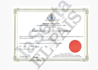 A certificate of incorporation for Fortuna Ventures. EL PAÍS/La Sexta/ICIJ