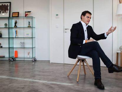 Albert Rivera during the interview from Ciudadanos headquarters.
