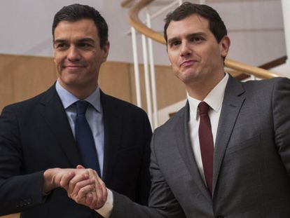 Pedro Sánchez and Albert Rivera in Congress on Wednesday.