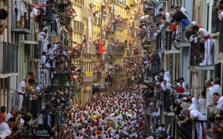 Pedro Armestre's award-winning photo of the bull running in Pamplona.