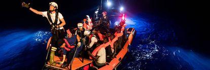 Sos Mediterranée volunters rescuing migrants