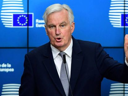 Michel Barnier during a press conference.