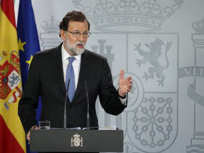 Spanish Prime Minister Mariano Rajoy speaking on Friday evening.