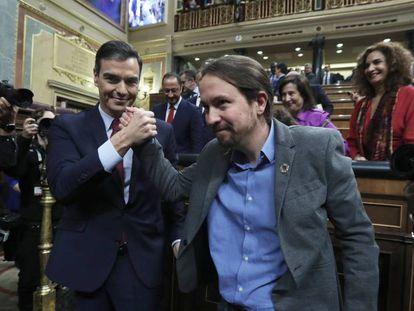 Socialist Party leader Pedro Sánchez (l) and Unidas Podemos leader Pablo Iglesias.