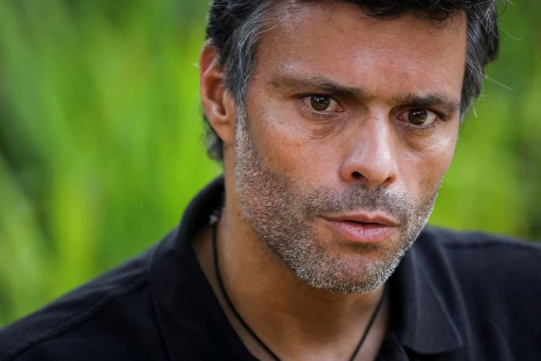 Leopoldo López during his interview with EFE in Caracas.