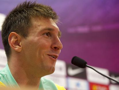 Barça player Leo Messi during Wednesday's press conference.