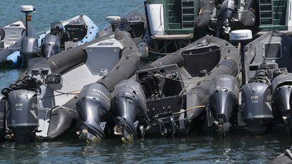 Speedboats moored in Algeciras.