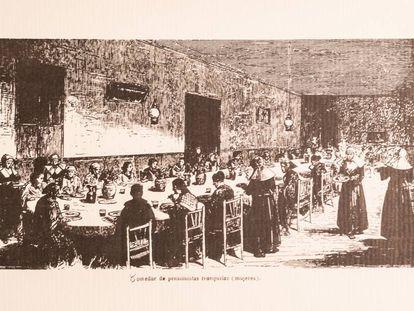 Print of mentally ill female patients having lunch in the Leganés asylum, 1872.