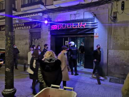 A police officer outside the Republik nightclub last Saturday.