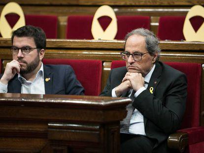 Catalan premier Quim Torra (r) and his deputy Pere Aragones.