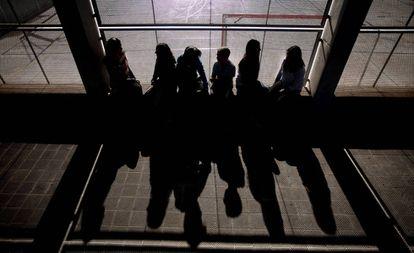 School children in Barcelona attending a bullying prevention program.