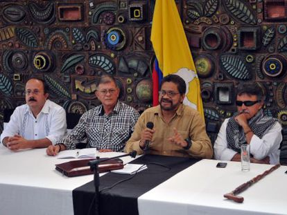 FARC delegates offer a press conference in Havana, on March 21.