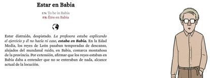 Estar en Babia: to be distracted or out of touch with the world. Click on the photo for an English translation.