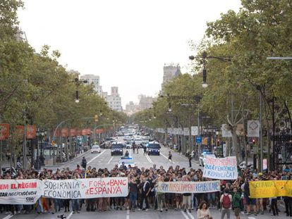 Pro-independence activists in Barcelona on Monday morning.