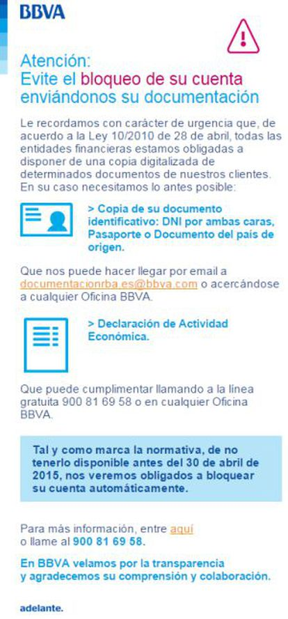 A message from BBVA bank warning about the possibility of blocked accounts.