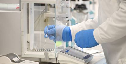 A lab technician at work at AstraZeneca.
