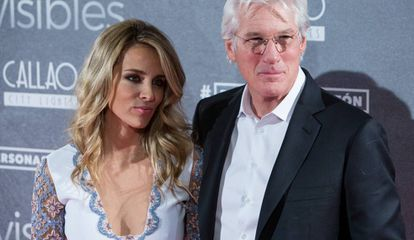 Alejandra Silva and Richard Gere at the premiere of Time Out of Mind in Madrid in 2015.