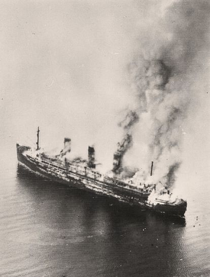 The 'Cap Arcona' after being bombed by British aircraft on May 4, 1945.