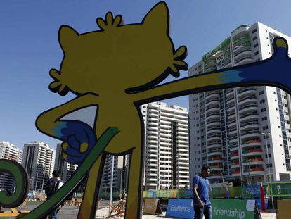 Vinícius, the Games' mascot, at the entrance to the Olympic Village.