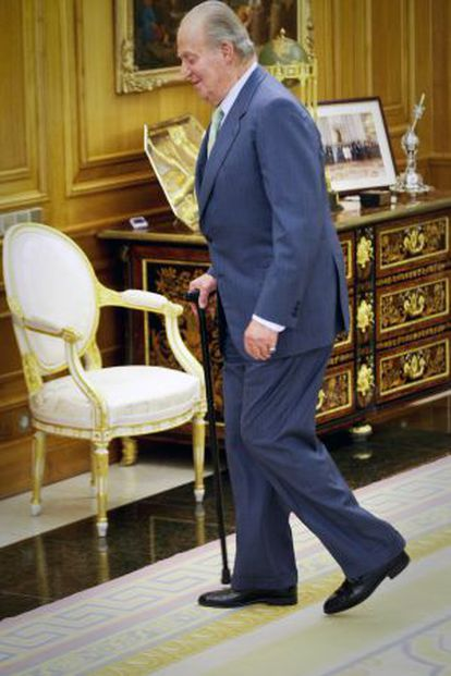 King Juan Carlos at the royal residence a few hours after his announcement.
