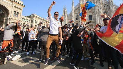 Around 2,500 soccer fans from Valencia traveled to Milan to see Atalanta play Valencia on February 19.